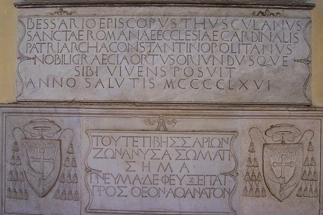 The greek epitaph on Cardinal Bessarion's tomb
